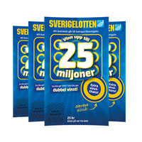 Sverigelottery 4-pack with envelope