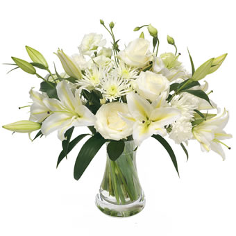 White condolence bouquet