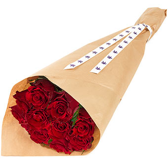 Gift wrapped red roses