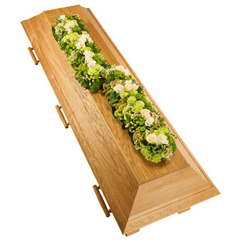 Coffin decoration in white and green colours
