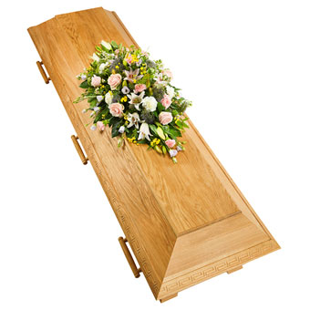 Coffin decoration in pastel colours