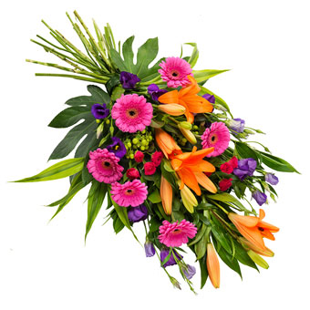 Funeral bouquet in vibrant colours