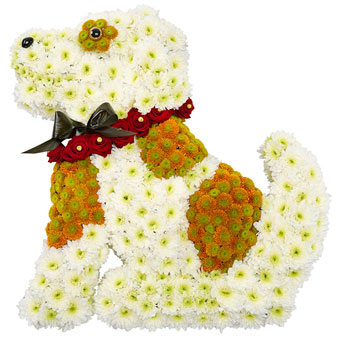 Dog-shaped funeral decoration in white and red col
