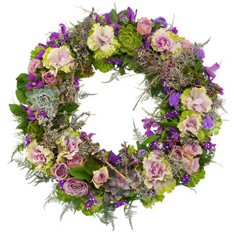 Funeral wreath in purple colours.