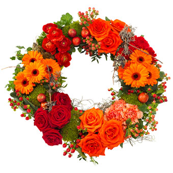 Funeral wreath in red and orange colours.