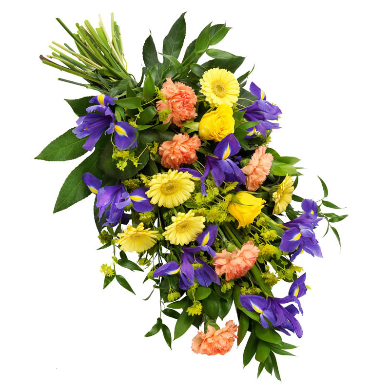 Colourful funeral bouquet