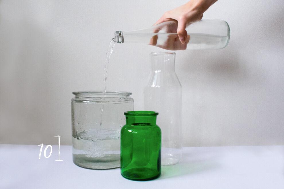 Vaser med 10 cm vatten till tulpanerna.