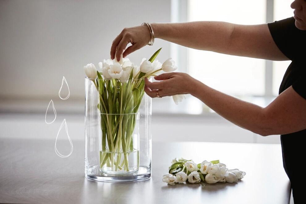 En bukett vita tulpaner på en bänk i ett kök, en kvinna sköter om dem.