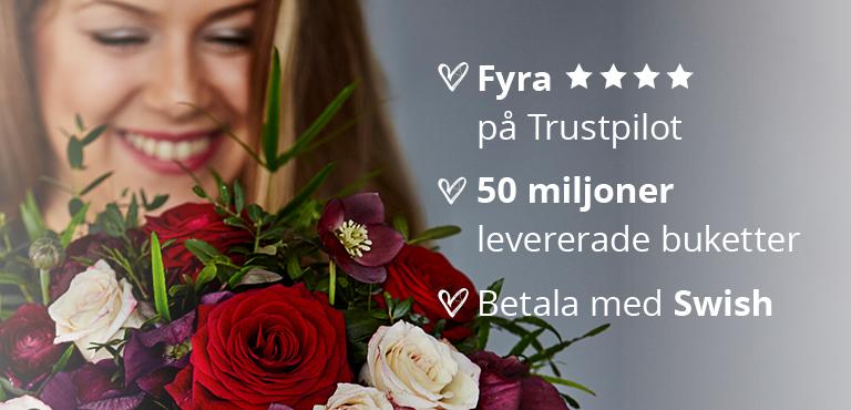 Romantiska kärleksbuketter med leverans i hela Sverige
